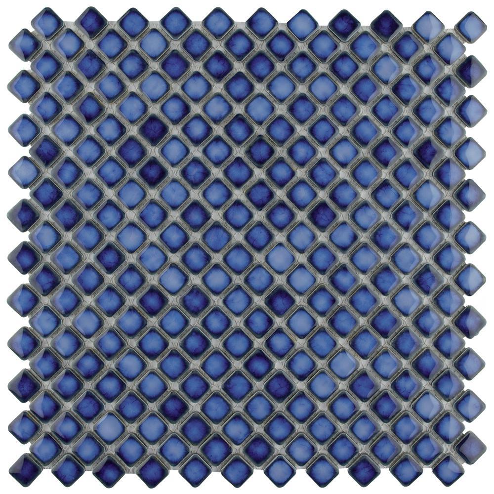 Hudson Diamond Sapphire 12-3/8 in. x 12-3/8 in. x 5 mm Porcelain Mosaic Tile
