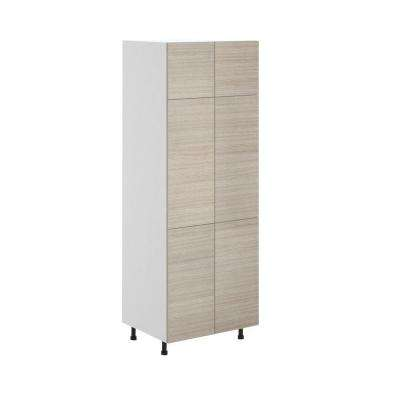 Geneva Ready to Assemble 30 x 83.5 x 24.5 in. Pantry/Utility Cabinet in White Melamine and Door in Silver Pine