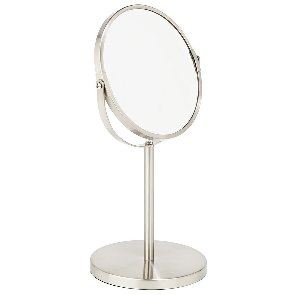 Dual Sided 5x Magnification Vanity Mirror In Satin