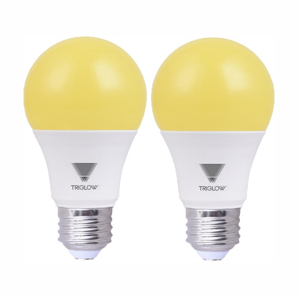 60-Watt Equivalent Yellow A19 LED Bug Light Bulb (2-Pack)
