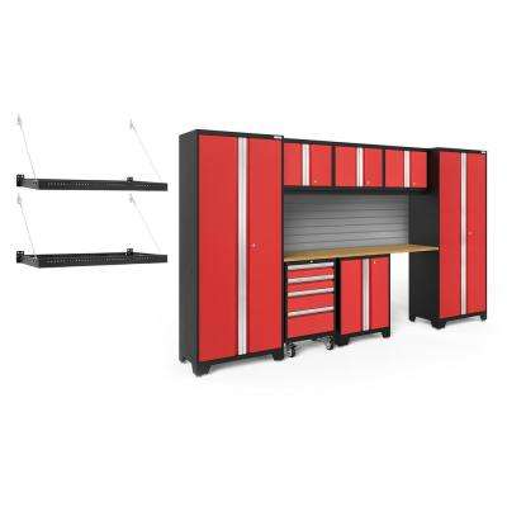 Bold Series 3.0 132 in. W x 77.25 in. H x 18 in. D 24-Gauge Steel Cabinet Set in Red (8-Piece)
