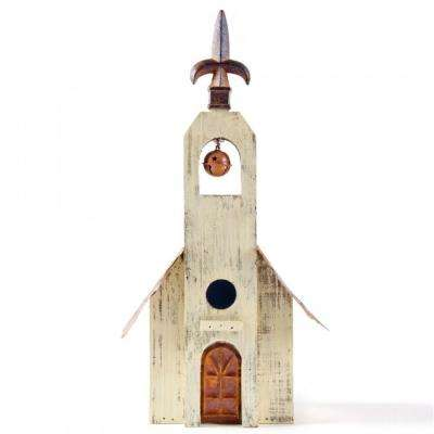 15.63 in. H Distressed Wooden White Birdhouse