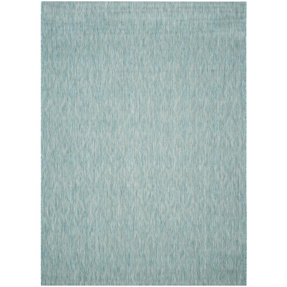 Courtyard Aqua 9 ft. x 12 ft. Indoor/Outdoor Area Rug