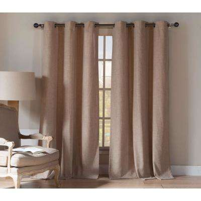 Keighleyann 84 in. L Poly-Linen Grommet Panel in Wheat (2-Pack)