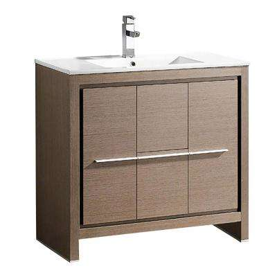 Allier 36 in. Bath Vanity in Gray Oak with Ceramic Vanity Top in White with White Basin