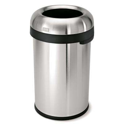 80-Liter/21 Gal. Heavy-Gauge Brushed Stainless Steel Bullet Round Open Top Commercial Trash Can
