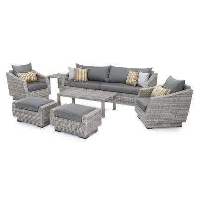 Cannes 8-Piece All-Weather Wicker Patio Sofa and Club Chair Seating Group with Sunbrella Charcoal Grey Cushions