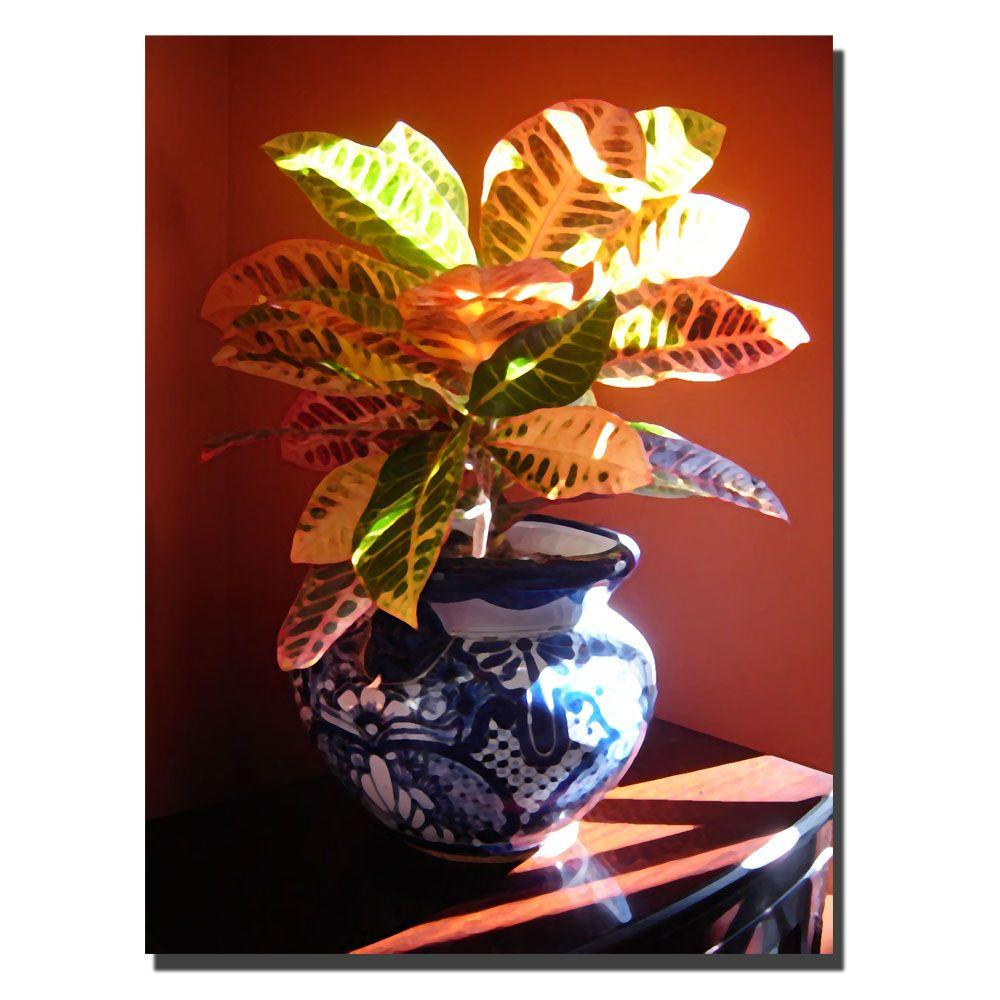 24 in. x 32 in. Croton in Talavera Pot Canvas Art