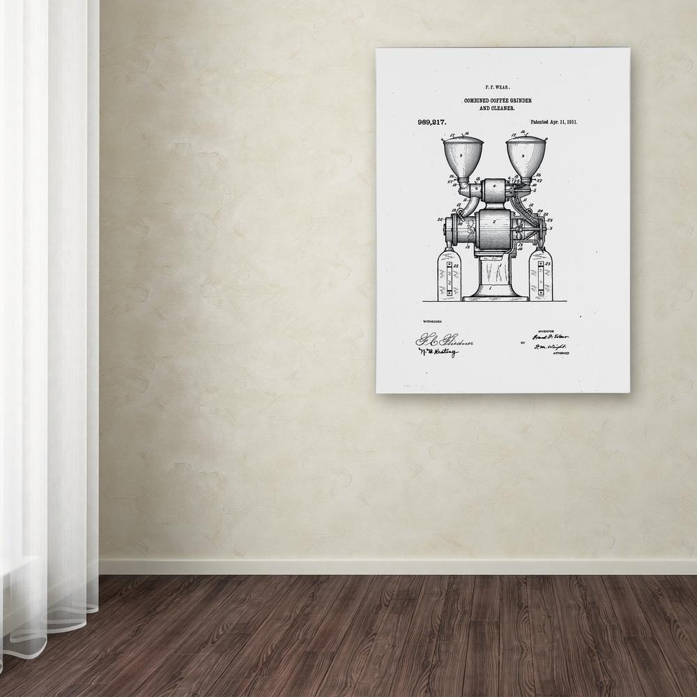 """Trademark 32 in. x 24 in. """"Coffee Grinder Patent 1911"""" by..."""