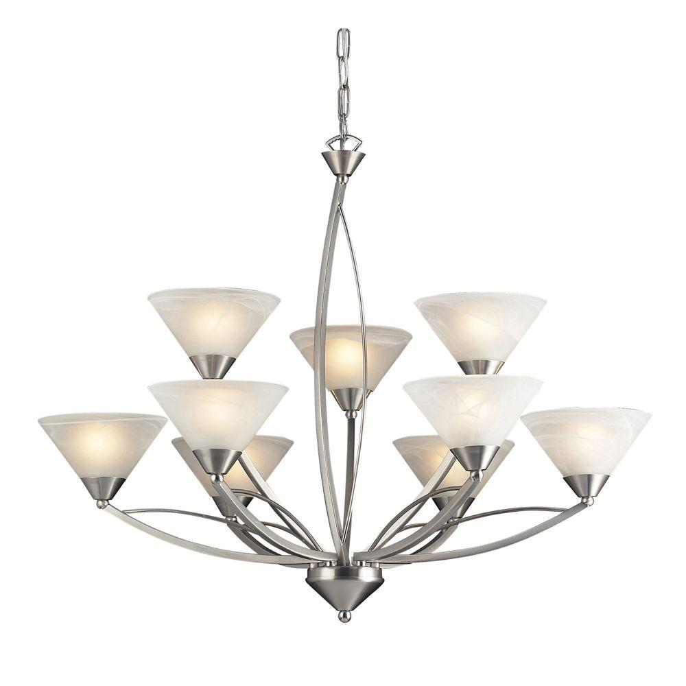 Titan Lighting Elysburg 9-Light Satin Nickel Ceiling Mount