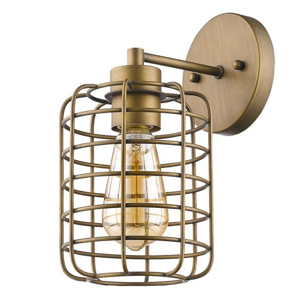 Lynden 8.25 in. 1-Light Raw Brass Sconce with Wire Cage Shade