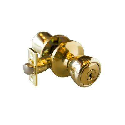 Terrace Polished Brass Keyed Entry Door Knob with Universal 6-Way Latch