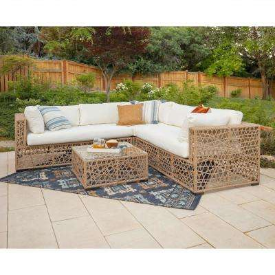 Ordinaire Modern Transitional Random Weave Box Sectional With Natural Cushions