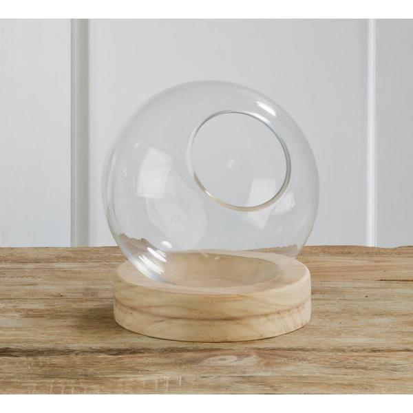 10 in. Clear Decorative Glass Globe with Natural Wood Base