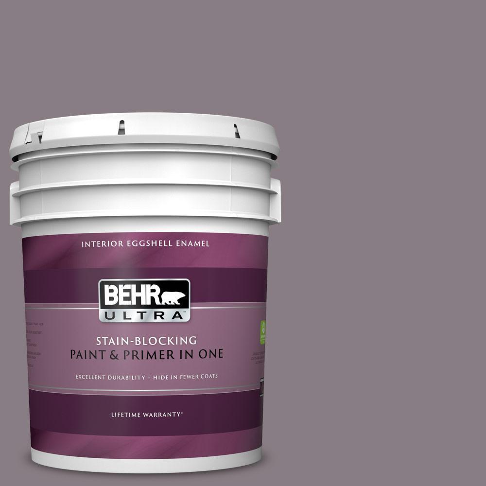 Behr Ultra 5 Gal N570 4 Classy Plum Extra Durable Eggshell Enamel Interior Paint Primer 275305 The Home Depot