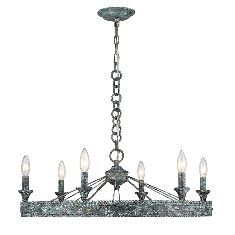 Golden Lighting Ferris 6 Light Blue Verde Patina Chandelier