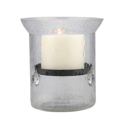 6 in. H Glass Hammered Hurricane Candle Holder with Gunmetal Tray
