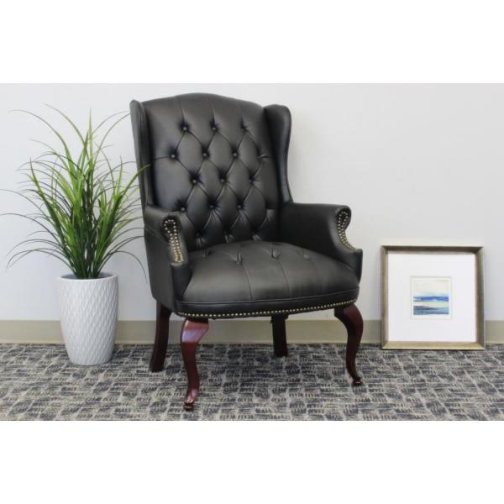 Boss Black Vinyl Wingback Guest Chair B809-BK