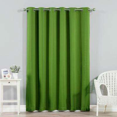 Wide Width Basic Silver 80 in W. x 96 in. L Grommet Blackout Curtain in Green