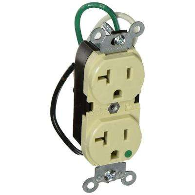 20 Amp Hospital Grade Extra Heavy Duty Duplex Outlet with Leads, Ivory