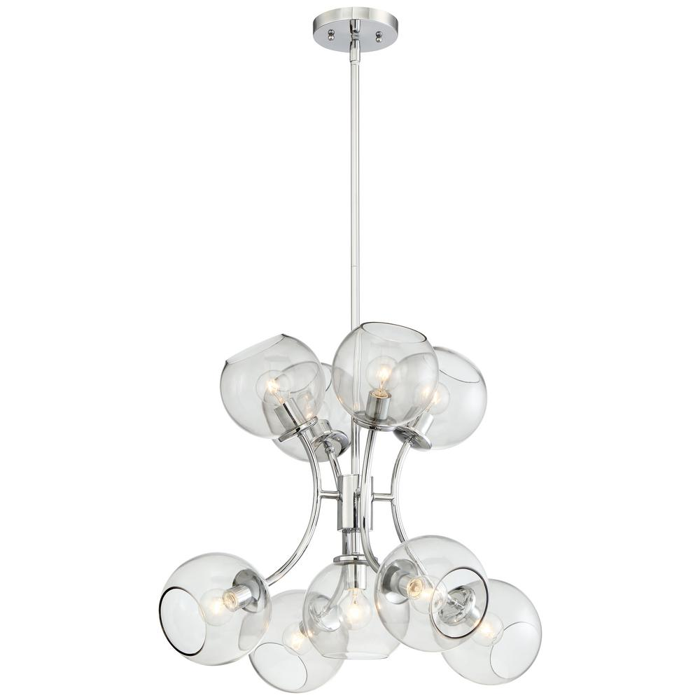 Exposed 1-Light Chrome Mini Pendant with Tinted Smoke Glass