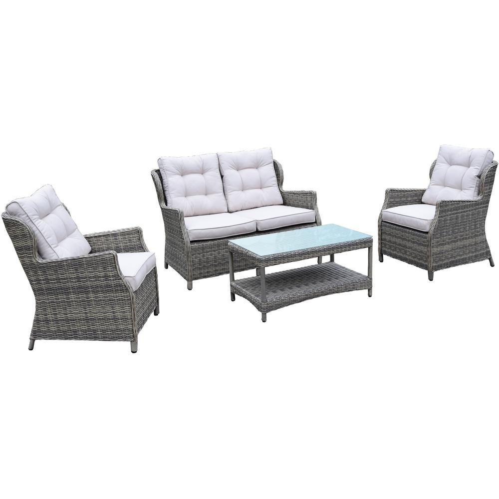 Borneo Beige 4-Piece Wicker Patio Deep Seating Set with Oatmeal Cushions