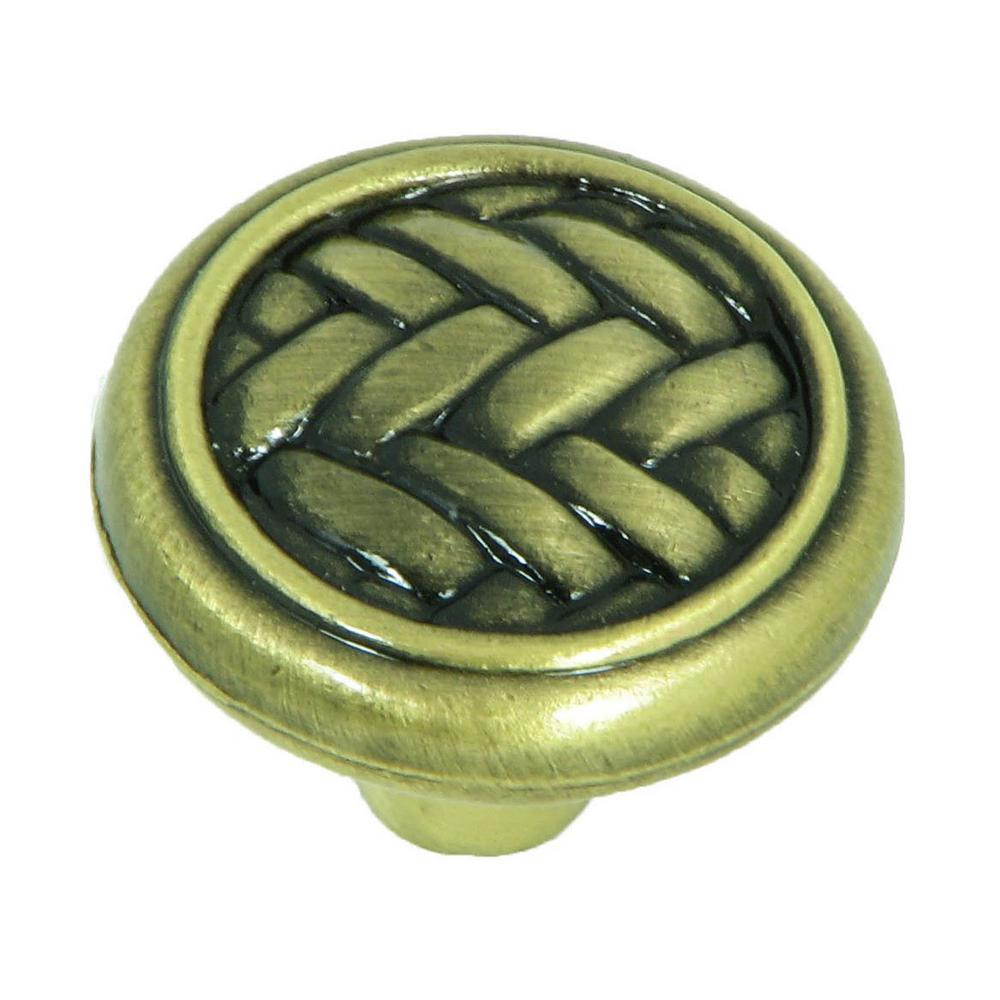 Stone Mill Hardware Harris 1-1/4 in. Antique Brass Round Cabinet Knob (25-Pack)