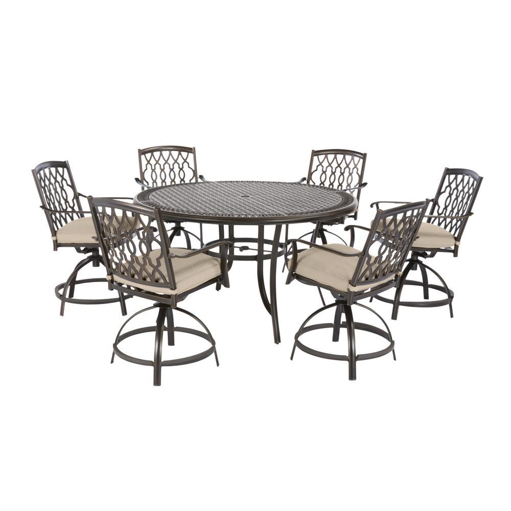 Ridge Falls 7-Piece Dark Brown Aluminum Outdoor Patio Dining Set with CushionGuard Putty Tan Cushions