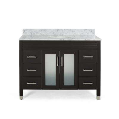 Halston 48 in. W x 22 in. D Bath Vanity with Carrara Marble Vanity Top in Brown with White Basin
