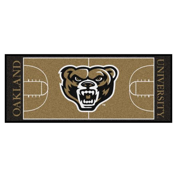NCAA Oakland University 30 in. x 72 in. Basketball Court Runner Rug