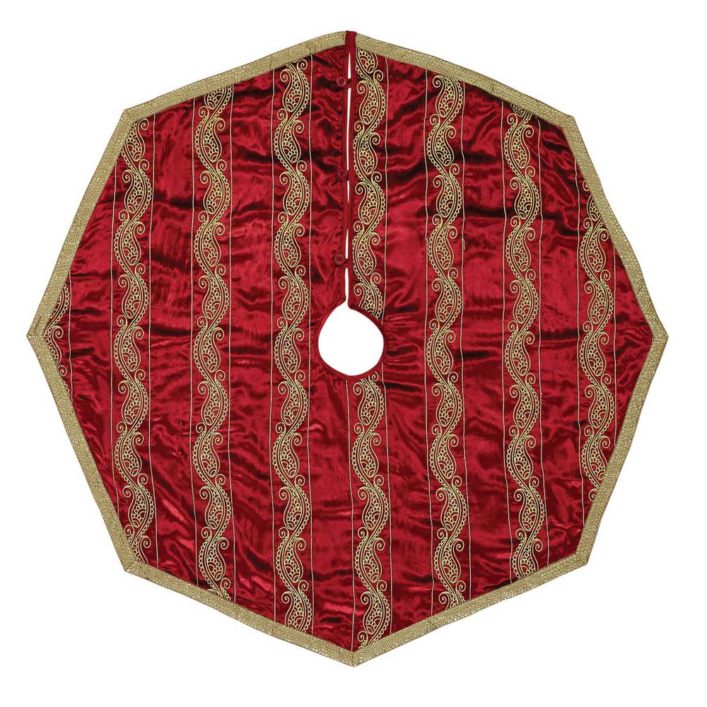 vhc brands 48 in yule christmas red glam decor tree skirt 32093