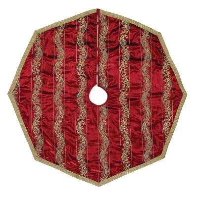 48 in. Yule Christmas Red Glam Decor Tree Skirt