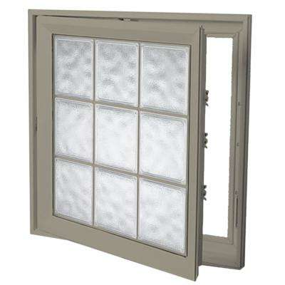 21 in. x 21 in. Left-Hand Acrylic Block Casement Vinyl Window with Driftwood Interior and Exterior