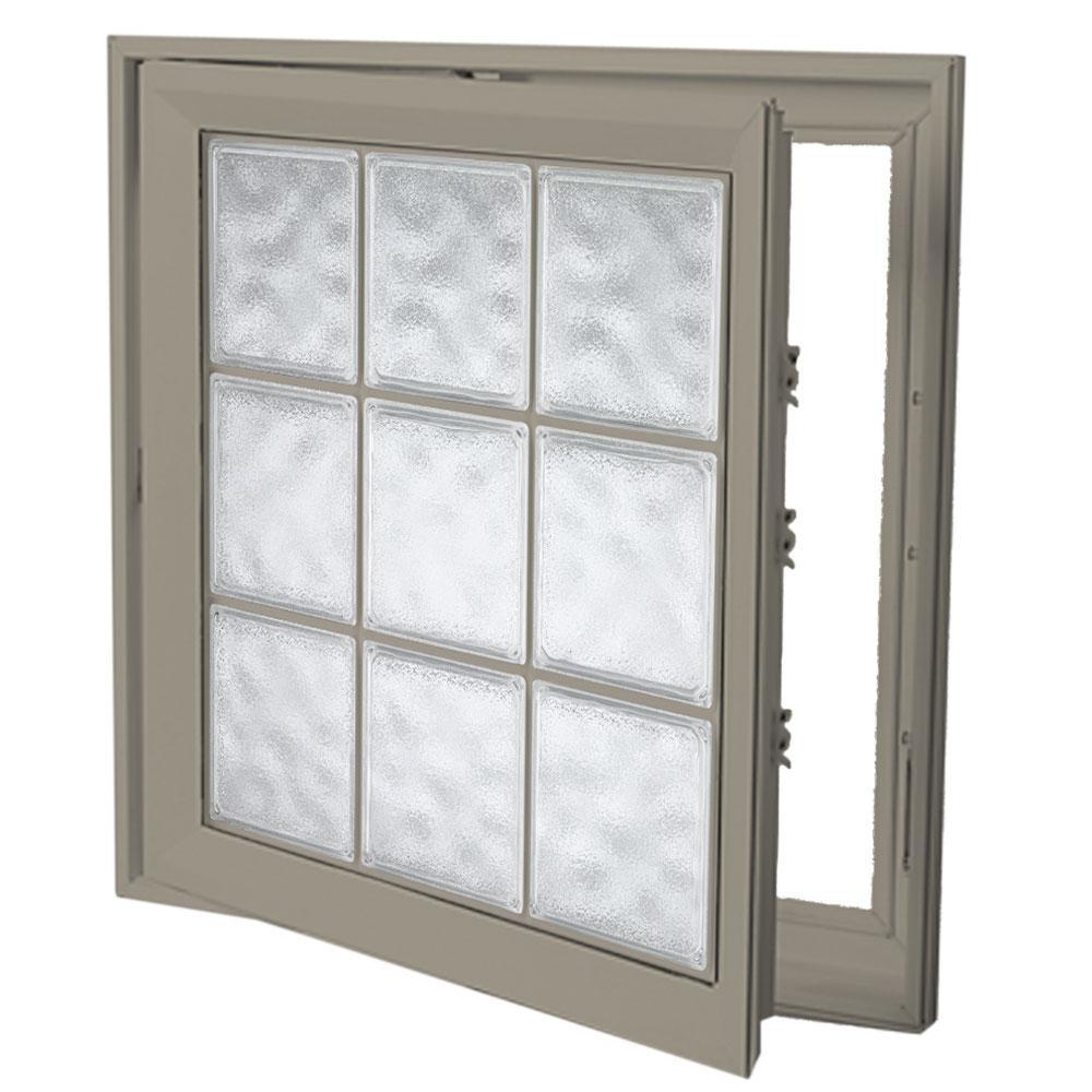 21 in. x 53 in. Left-Hand Acrylic Block Casement Vinyl Window with Driftwood Interior and Exterior