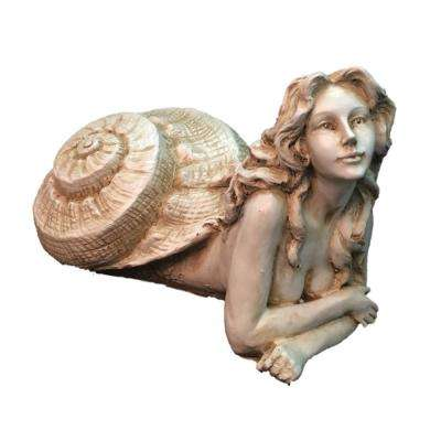 12 in. Antique White Pasithea Sexy Sea Snail Mermaid in Her Exotic Shell Nautical Beach Statue