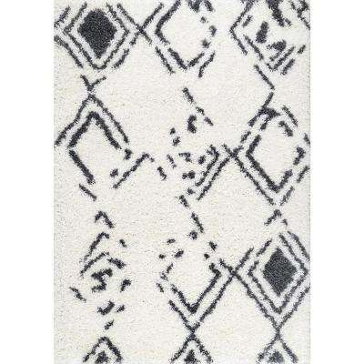 Candice Faded Shaggy White 5 ft. 3 in. x 7 ft. 6 in. Area Rug