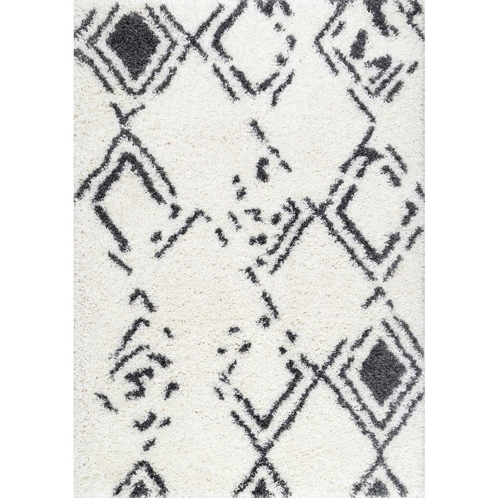 Nuloom Amina Timeworn Moroccan Shag White 9 Ft X 12 Area Rug