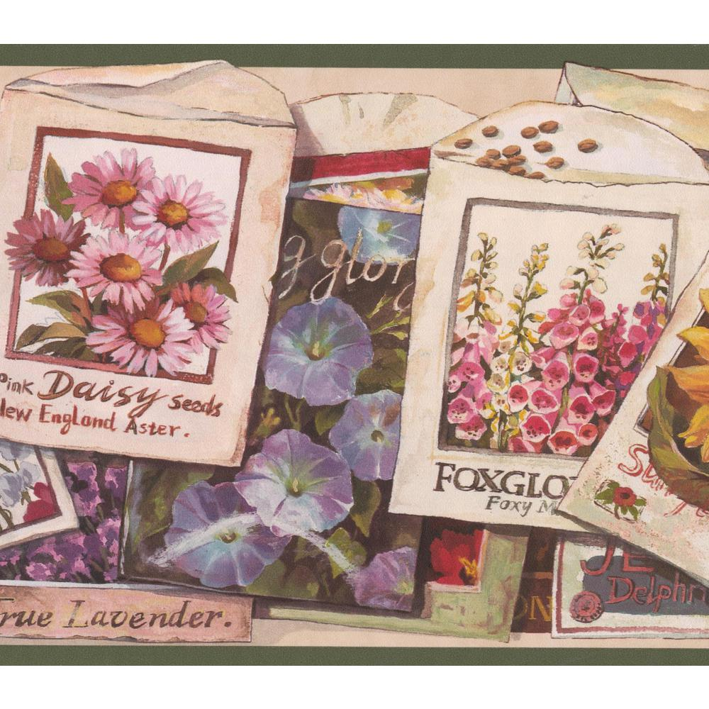 Retro Art Flower Seeds Packets Vintage Prepasted Wallpaper Border