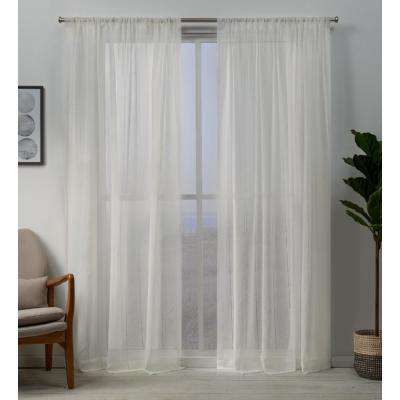 Hemstitch 54 in. W x 108 in. L Sheer Rod Pocket Top Curtain Panel in Snowflake (2 Panels)