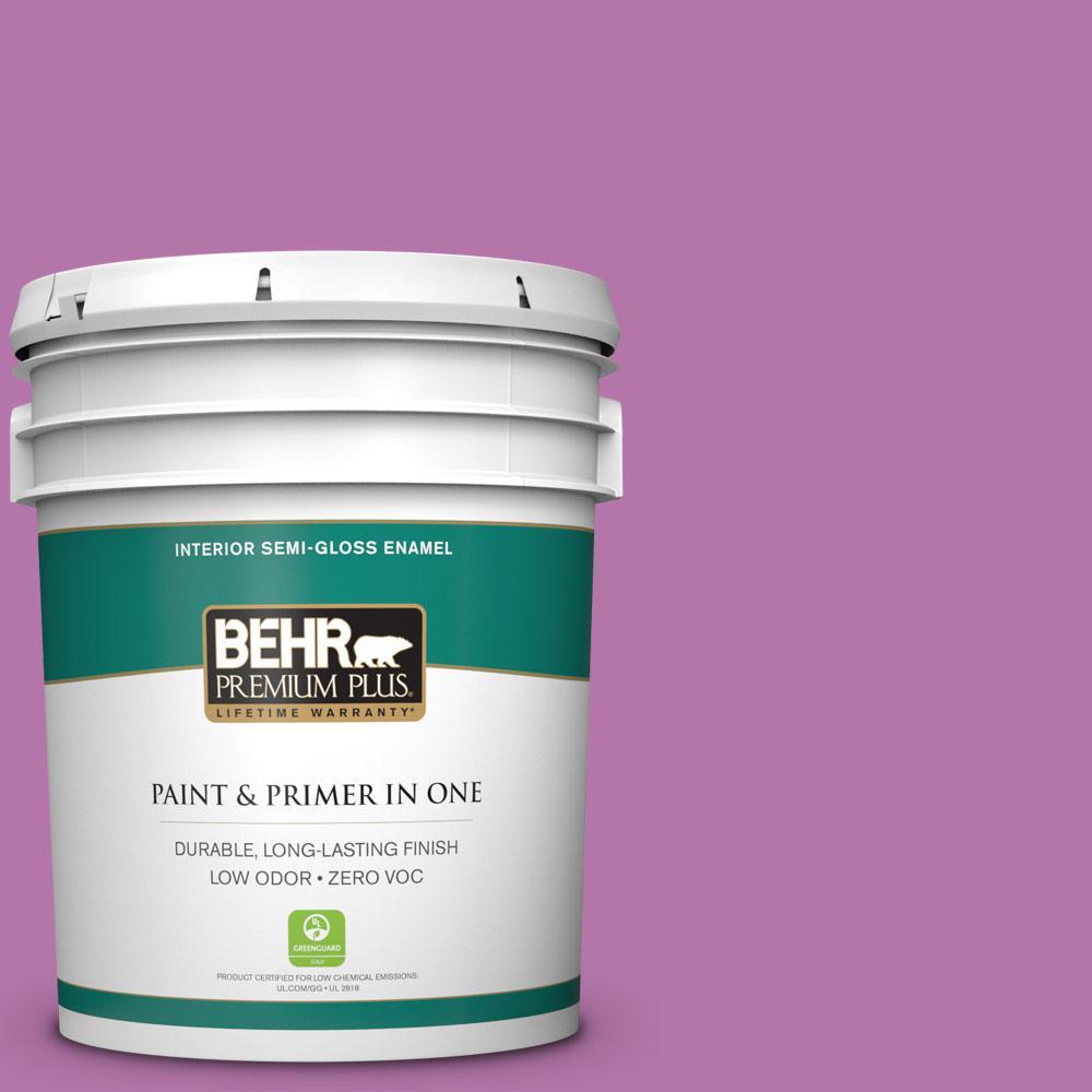 BEHR Premium Plus 5 gal. #P110-5 Girls Only Semi-Gloss Enamel Zero VOC Interior Paint and Primer in One