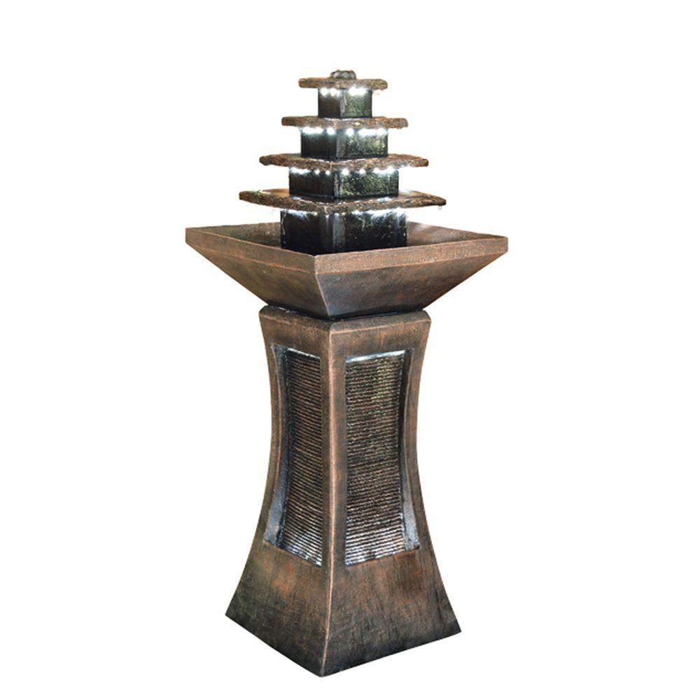 Outdoor Water Fountains Home Depot: ORE International 39 In. LED Pyramid Tiered Indoor/Outdoor