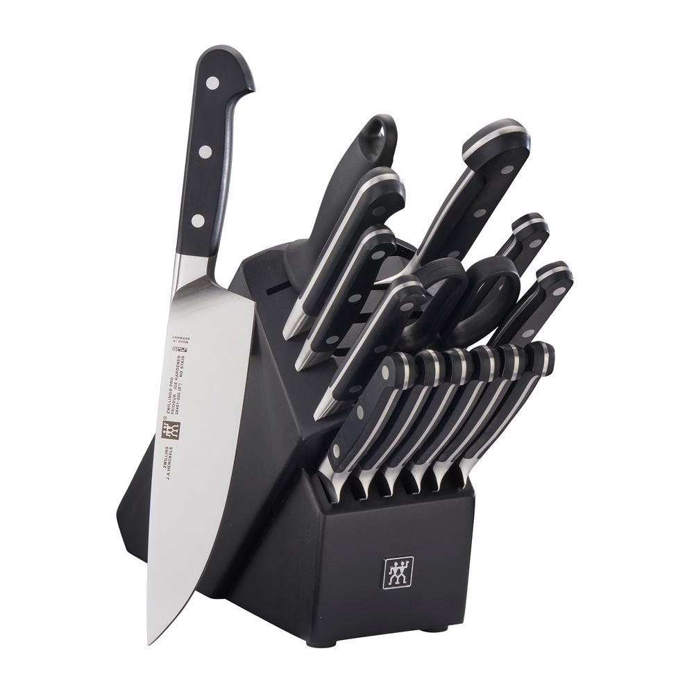 Pro 16-Piece Black Knife Block Set