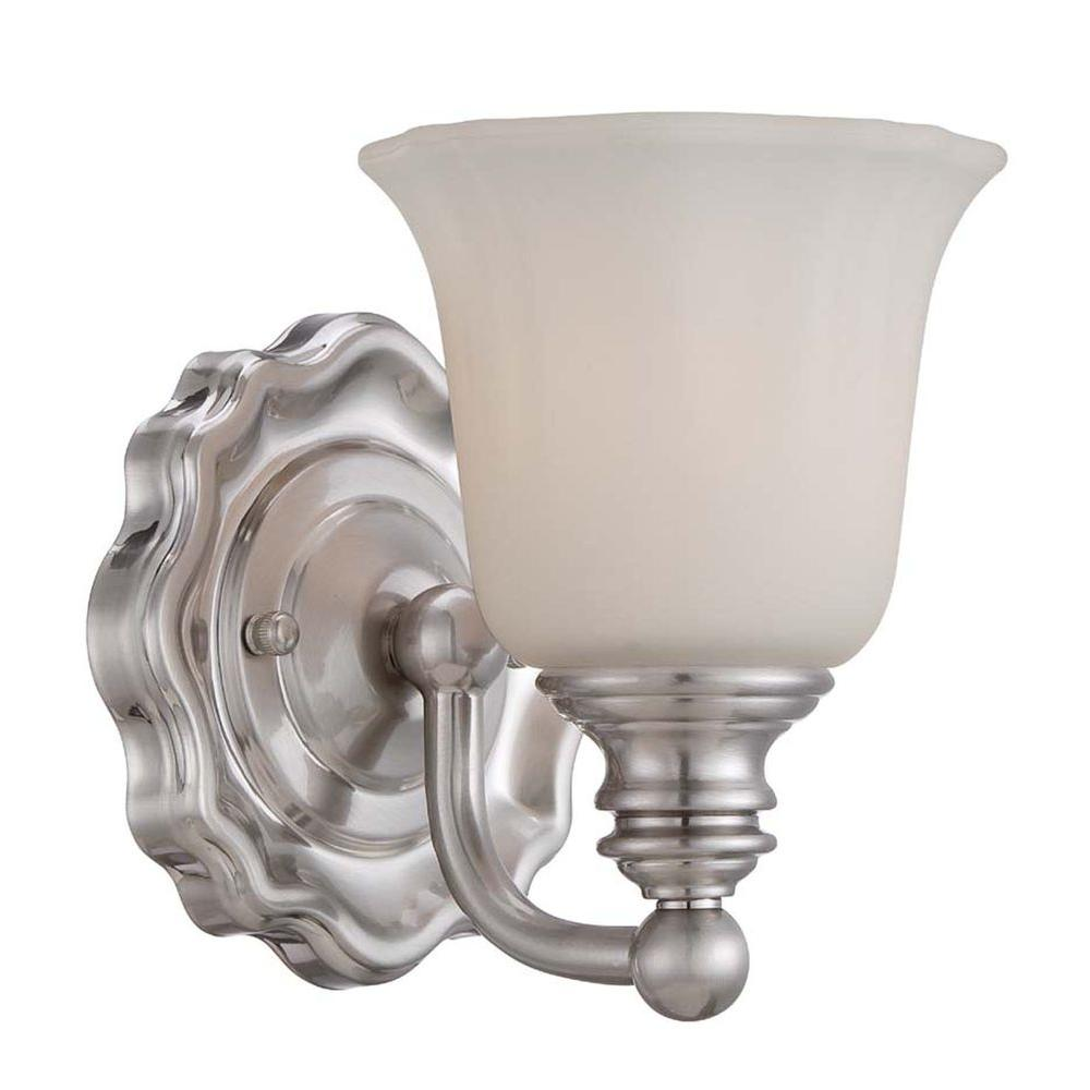 Home Decorators Collection Lamport 1-Light Brushed Nickel Bath Light