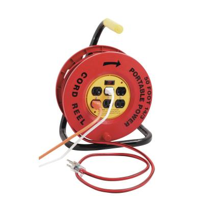 50 ft. 14/3 Red Cord Reel Power Station with 6 Outlets