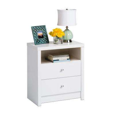 Calla 2-Drawer White Nightstand