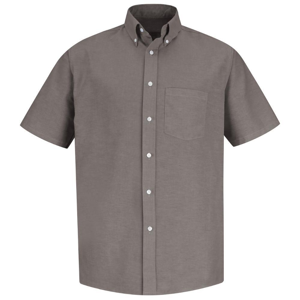 Red Kap Mens Size 145 Grey Executive Oxford Dress Shirt Sr60gy Ss