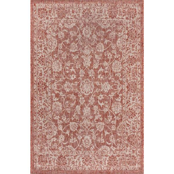 Tela Bohemian Red/Taupe 5 ft. 3 in. x 7 ft. 7 in. Textured Weave Floral Indoor/Outdoor Area Rug