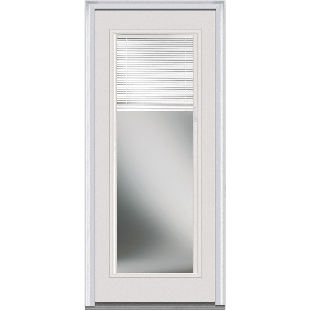Milliken Millwork 32 in. x 80 in. Internal Mini Blinds Clear Glass Full Lite Primed White Steel Prehung Front Door