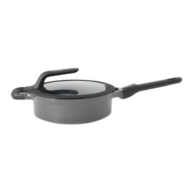 GEM Stay Cool 3.5 qt. Cast Aluminum Nonstick Saute Pan in Gray with Glass Lid