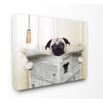 "16 in. x 20 in. ""Pug Reading Newspaper in Bathroom"" by In House Artist Printed Canvas Wall Art"